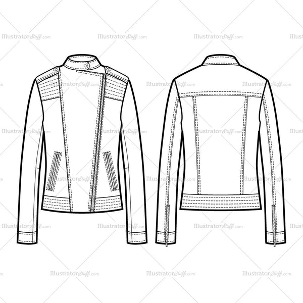 2 types of collar moto jacket with large trapunto