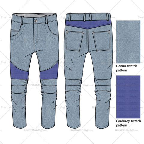 Mens Biker Jeans Fashion Flat Template