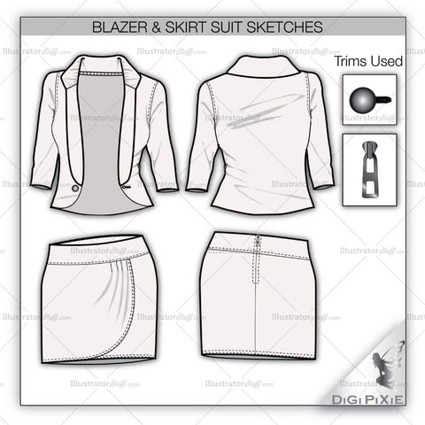 Blazer-Skirt Suit Flats Template