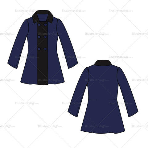 {Illustrator Stuff} Women's Pea Coat Fashion Flat Template