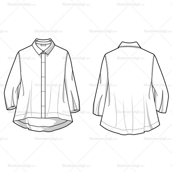 Classic Blazer Fashion Flat Sketches Illustrator