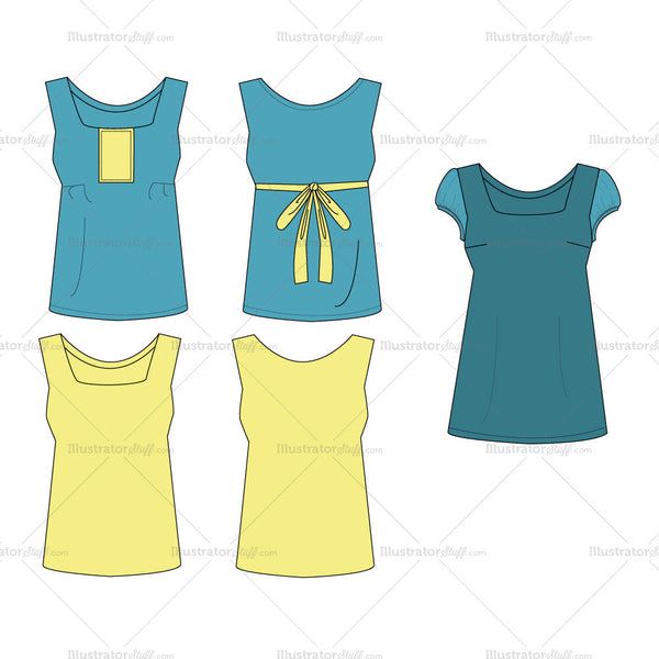 {Illustrator Stuff} Girls / Teen Blouse Fashion Flat Template