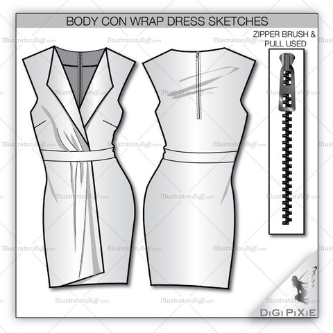 Bodycon Wrap Dress Sketch Template