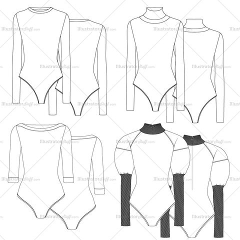 Bodysuit Fashion Flat Templates