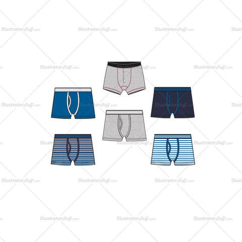 Mens Boxer Briefs Fashion Flat Templates