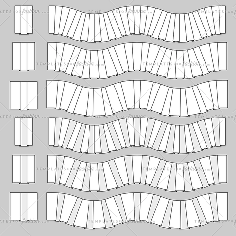 box pleats trim fashion pattern brush element set vector