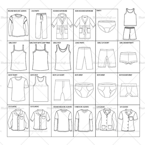 Boys and Girls complete garment templates