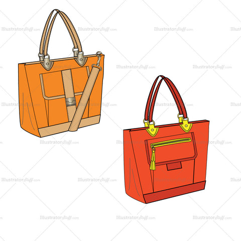 {Illustrator Stuff} Bucket Bag Fashion Flat Template