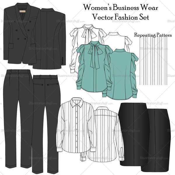 Women's Business Wear Fashion Flat Templates