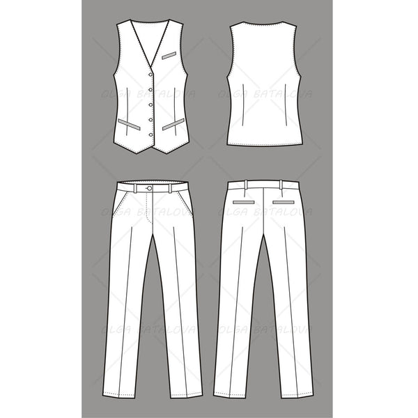 Women's Business Vest and Pants Fashion Flat Template