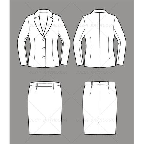Women's Business Jacket and Skirt Fashion Flat Template