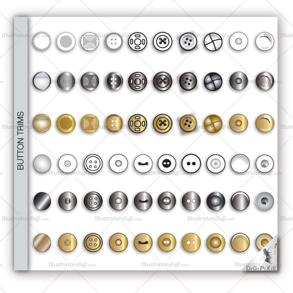Buttons Fashion Flat Templates
