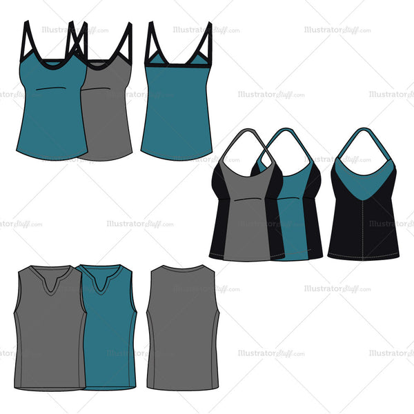 {Illustrator Stuff} Sleeveless Workout Tops Fashion Flat Template