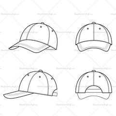 Unisex Baseball Cap Fashion Flat Templates
