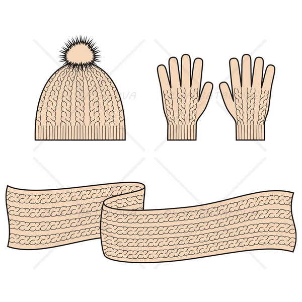 Cable Knit Cap, Scarf and Gloves Fashion Flat Template