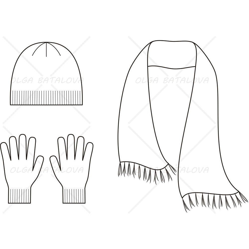 Knitted Cap, Scarf and Gloves Fashion Flat Template ...