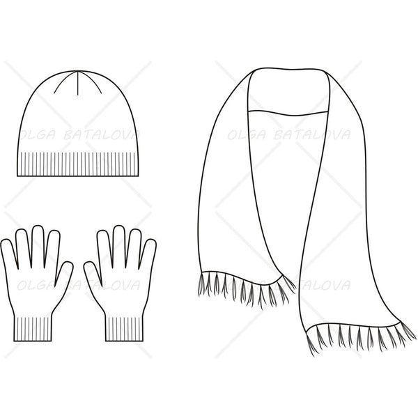 {Illustrator Stuff} Knit Cap, Scarf & Glove Fashion Flat Template