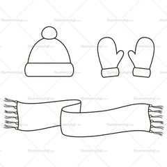 Knitted Cap, Scarf and Mittens Fashion Flat Template
