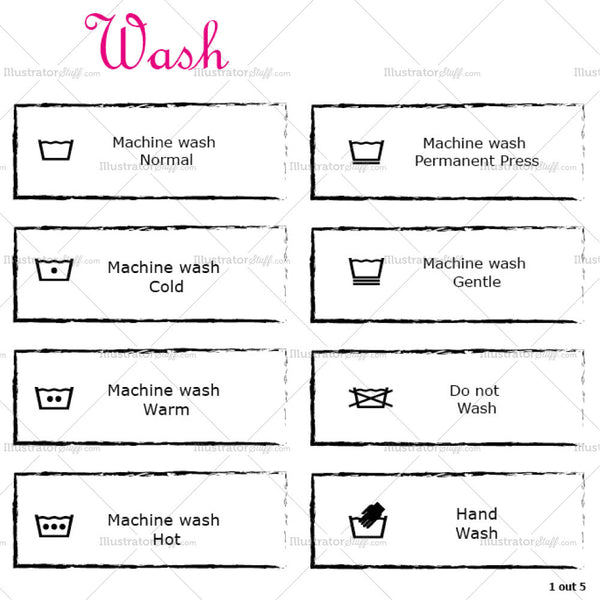 Clothing Garment Care Wash Symbols Labels
