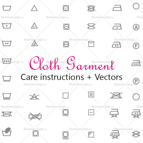 Clothing Garment Care Wash Symbols / Labels