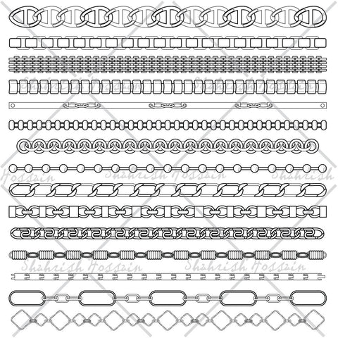 {Illustrator Stuff} Shahrish Hossain Chain Pattern Brushes