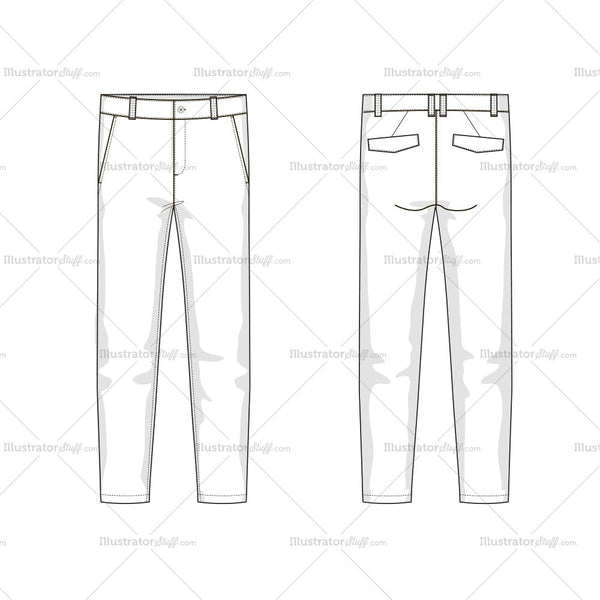 Men's Trousers Fashion Flat Template – Templates for Fashion