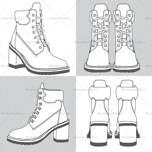 Classic Boots Fashion Flat Templates