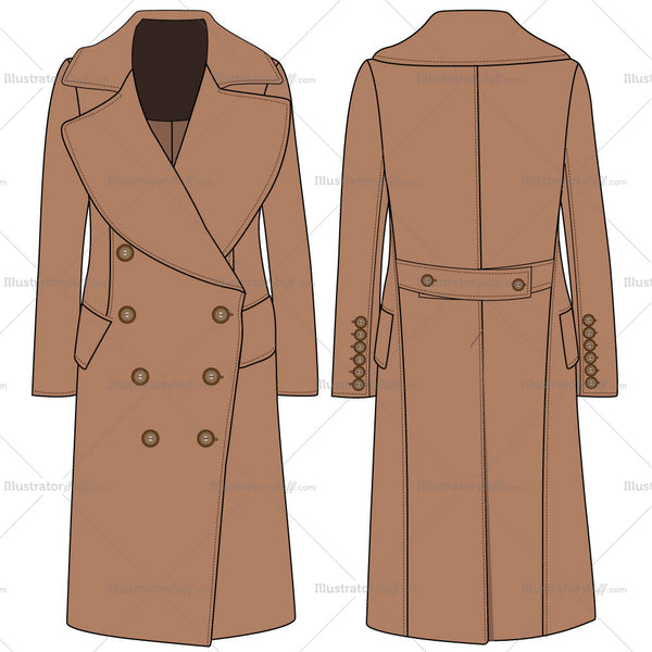 Women's Overcoat Fashion Flat Template
