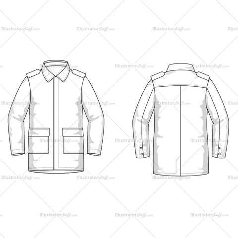 Men's Coat Fashion Flat Template