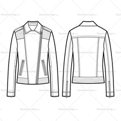 2 Types Of Collar Moto Jacket With Large Trapunto Stitching Flat Template