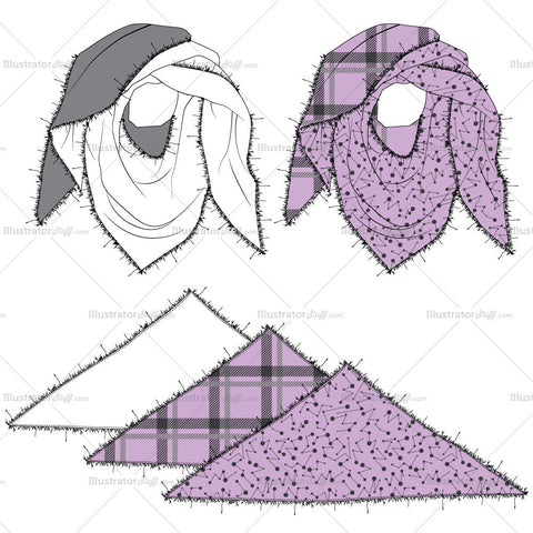 Printed Scarf Fashion Flat Templates