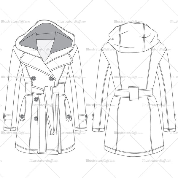 Double Breasted Hooded Coat Fashion Flat Templates