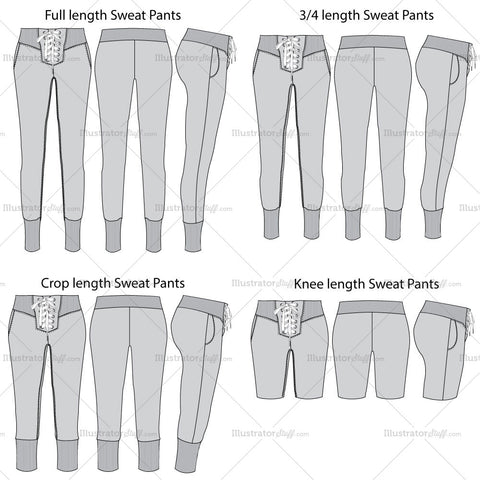 Set Of 4 Grey Sweat Pants Fashion Flat Template