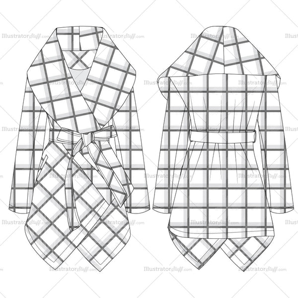 Prairie Grid Rabato Coat Fashion Flat Template
