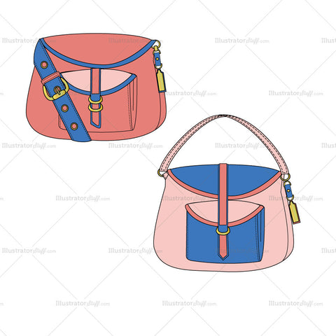 {Illustrator Stuff} Cross Body Bag Fashion Flat Template