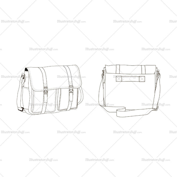 Crossbody Bag Fashion Flat Template