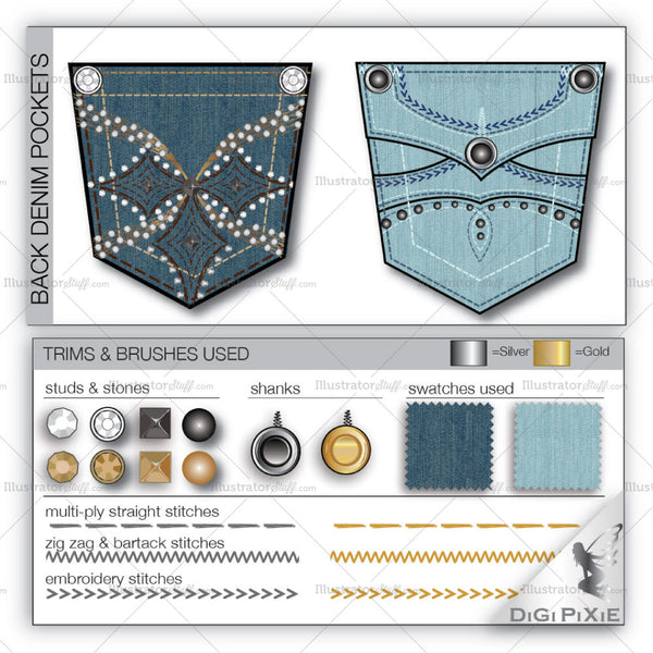 Back Denim Pocket Design Templates
