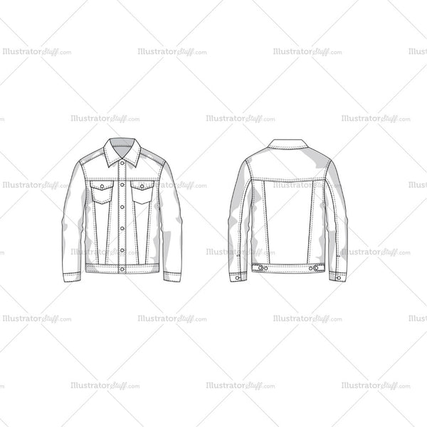 Men's Denim Jacket Fashion Flat Template