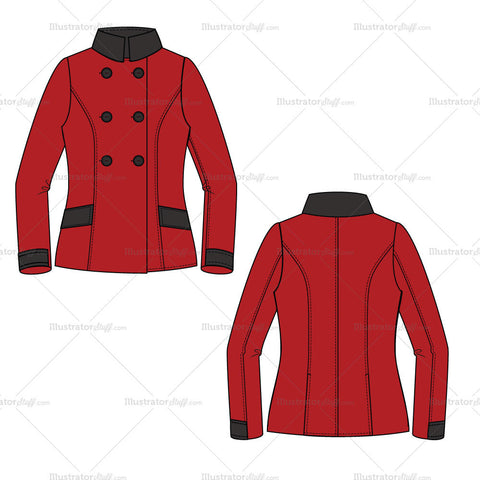 {Illustrator Stuff} Women's Double Breasted Pea Coat