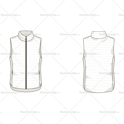 Men's Light Down Vest Fashion Flat Template