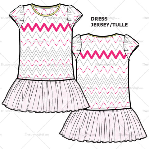 Girls Tulle Dress Fashion Flat Template