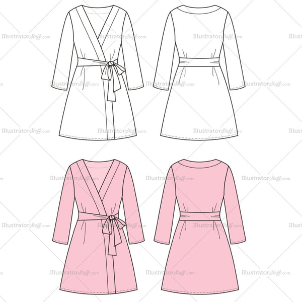 Women's Dressing Gown Fashion Flat Template