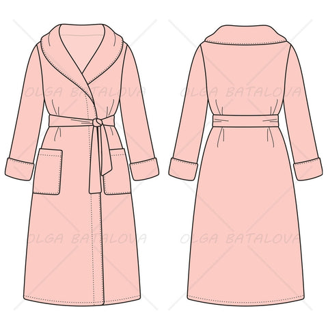 {Illustrator Stuff} Women's Bathrobe Fashion Flat Template