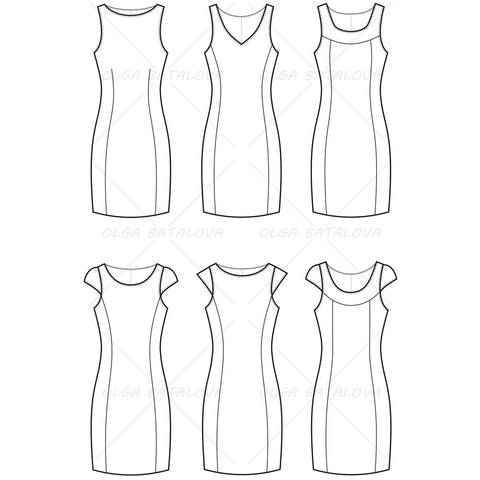 {Illustrator Stuff} Women's Dress Fashion Flat Template