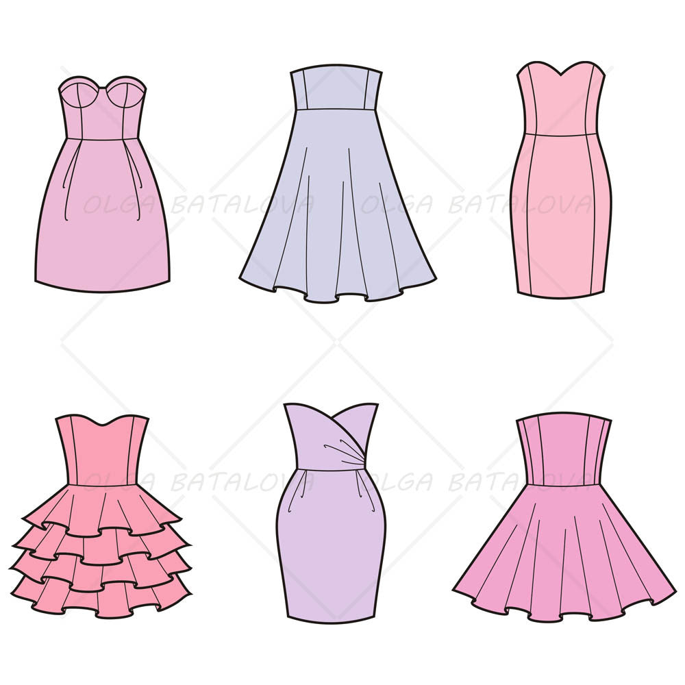 women�s evening party dress fashion flat templates