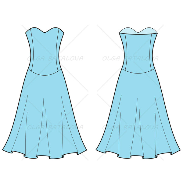 {Illustrator Stuff} Women's Sweetheart Dress Fashion Flat Template