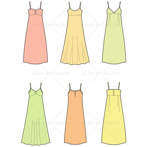 {Illustrator Stuff} Women's Spaghetti Strap Dress Fashion Flat Templates