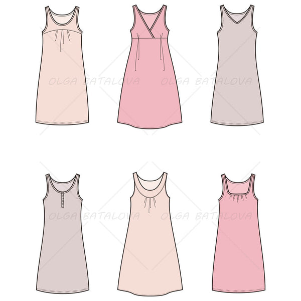Women's Tank Dress Fashion Flat Template