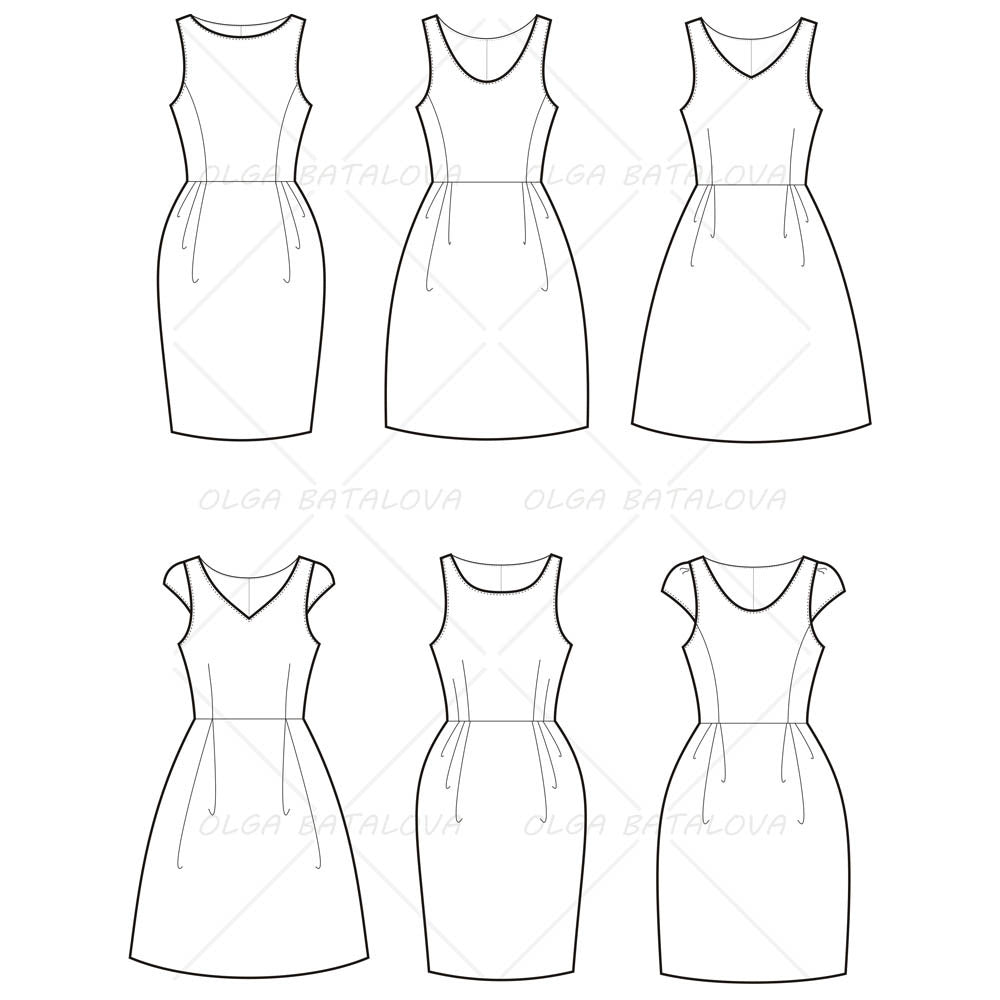 Women s empire waist dress fashion flat template for Fashion designer drawing template