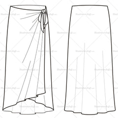 Women's Pareo Skirt Fashion Flat Template